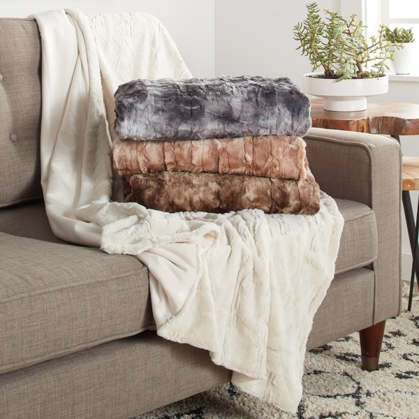 What Is A Throw Blanket Inspiration Shop Brielle Luxury Faux Fur Reversible Throw Blanket On Sale