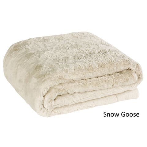 Brielle Luxury Faux Fur Reversible Throw Blanket