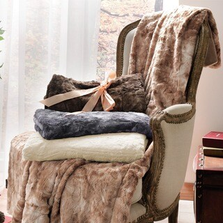 Brielle Luxury Faux Fur Reversible Throw Blanket