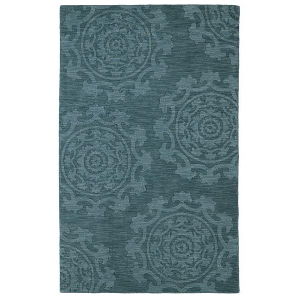 Trends Suzani Turquoise Wool Rug (9'6 x 13'6)