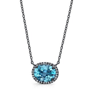 Black-plated Silver Blue Topaz and 1/8ct TDW Diamond Necklace (J-K, I2-I3)