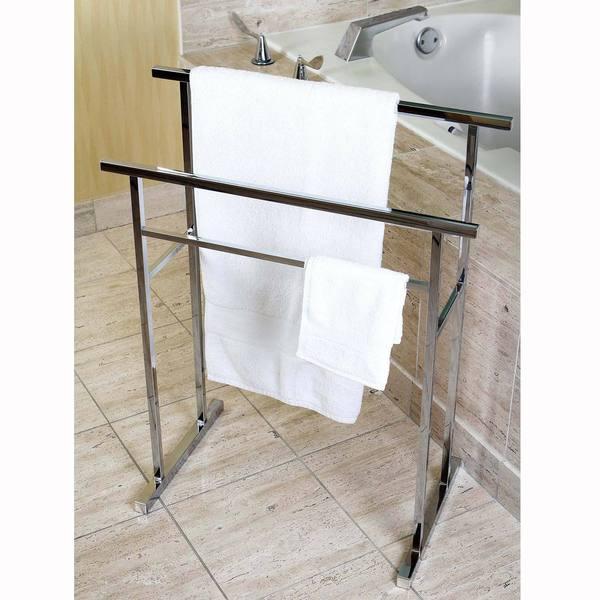 European Pedestal Chrome Bath Towel Rack