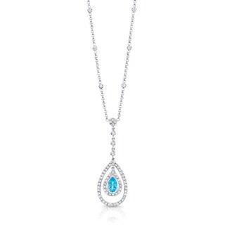 14k White Gold Aquamarine and 3/4ct TDW Diamond Necklace (H-I, SI1-SI2)