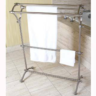 Pedestal Satin Nickel Bath Towel Rack