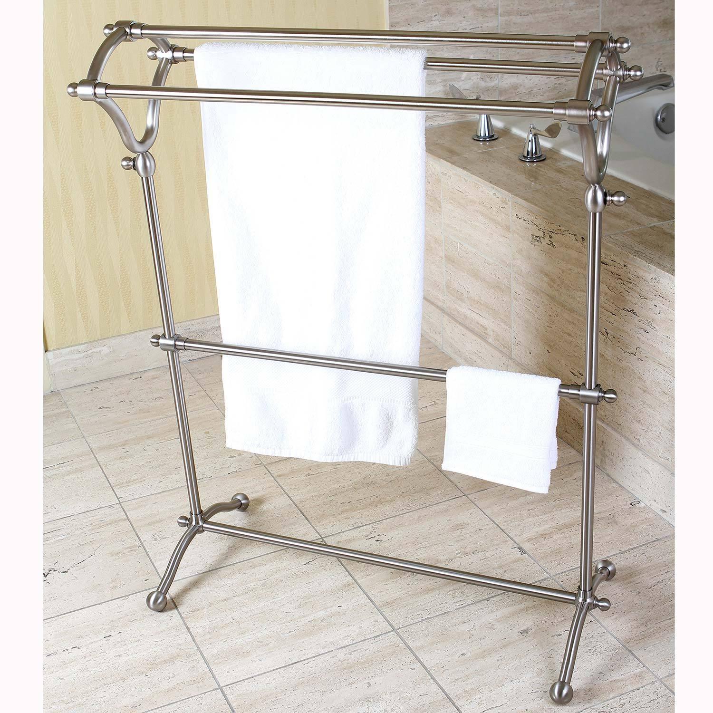 Pedestal Brushed Nickel Bath Towel Rack Grey On Sale Overstock 8433726