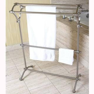 Pedestal Brushed Nickel Bath Towel Rack - Grey