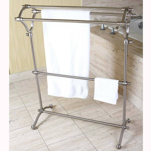 Shop Pedestal Satin Nickel Bath Towel Rack Free Shipping
