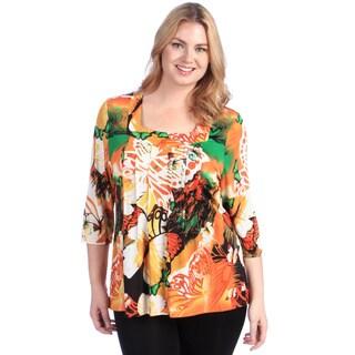 La Cera Women's Plus Orange Floral Square Neck Tunic