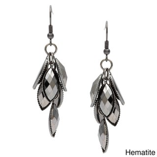 Alexa Starr Black-plated Faceted Metallic Lucite Cluster Earrings (More options available)