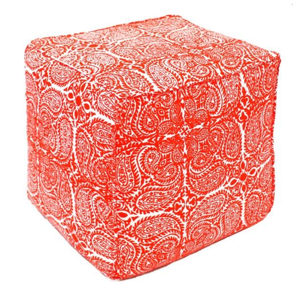 Red Maya Paisley Pouf Ottoman (India)
