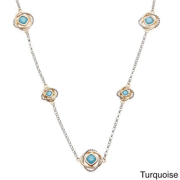 Alexa Starr Two-tone Glass Accent Interlocking Ring Illusion Necklace