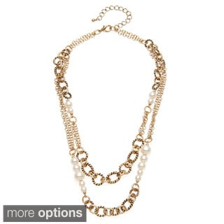 Alexa Starr Goldtone or Silvertone Faux Pearl Two-row Chain Necklace