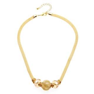 Alexa Starr Goldtone Mesh Faceted Glass Bead Slider Necklace