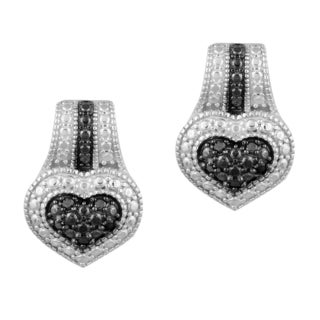 DB Designs Silvertone 1/10ct TDW Black Diamond Heart Earrings