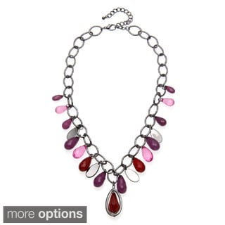 Alexa Starr Hematite-colored Chain Lucite Teardrop Necklace