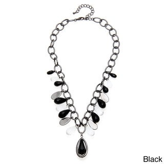 Alexa Starr Hematite-colored Chain Lucite Teardrop Necklace