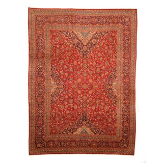 Herat Oriental Persian Hand-knotted Kashan Red/ Navy Wool Rug (9'5 x 12'7)