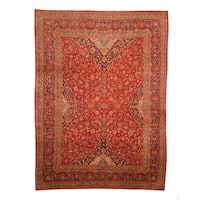 Herat Oriental Persian Hand-knotted Kashan Wool Rug (9'5 x 12'7) - 9'5 x 12'7