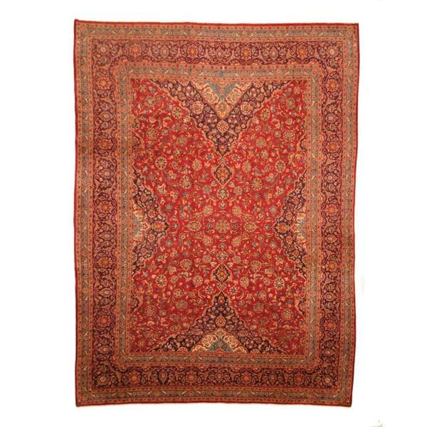 Herat Oriental Persian Hand-knotted Kashan Wool Rug - 9'5 x 12'7