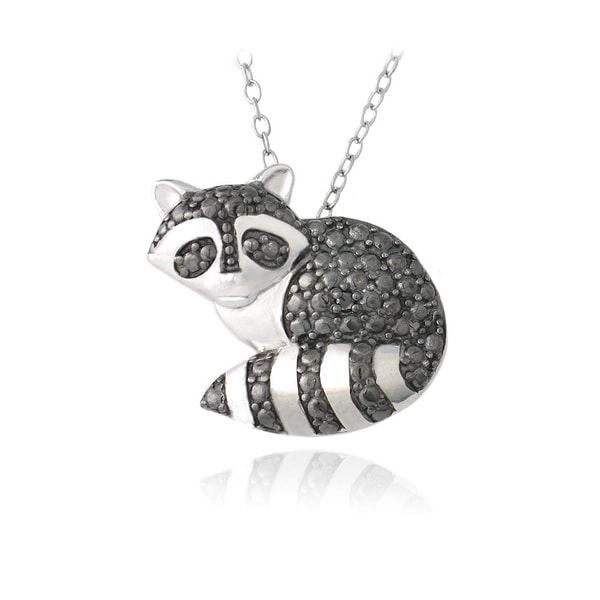 DB Designs Sterling Silver Black Diamond-accent Raccoon Necklace