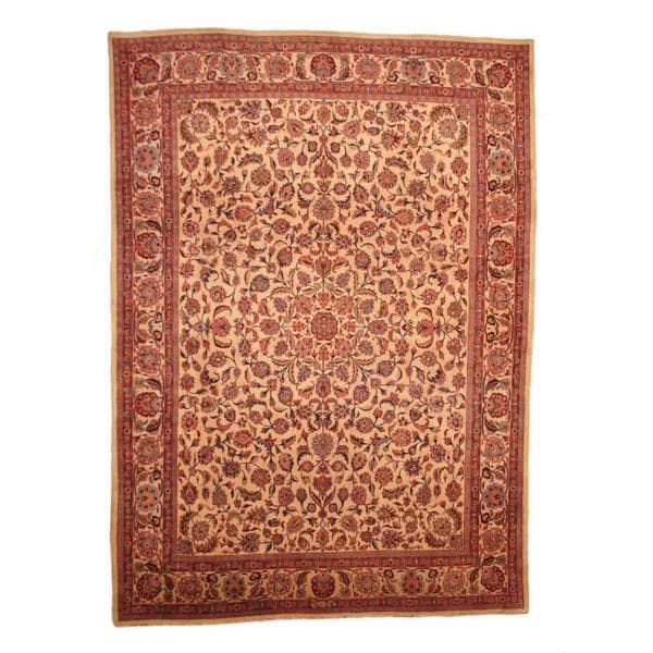 Herat Oriental Persian Hand-knotted 1960s Semi-antique Mashad Wool Rug (9'7 x 13'4) - 9'7 x 13'4