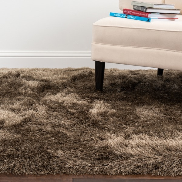 Hand-tufted Evelyn Taupe Shag Rug - 5' x 7'6""