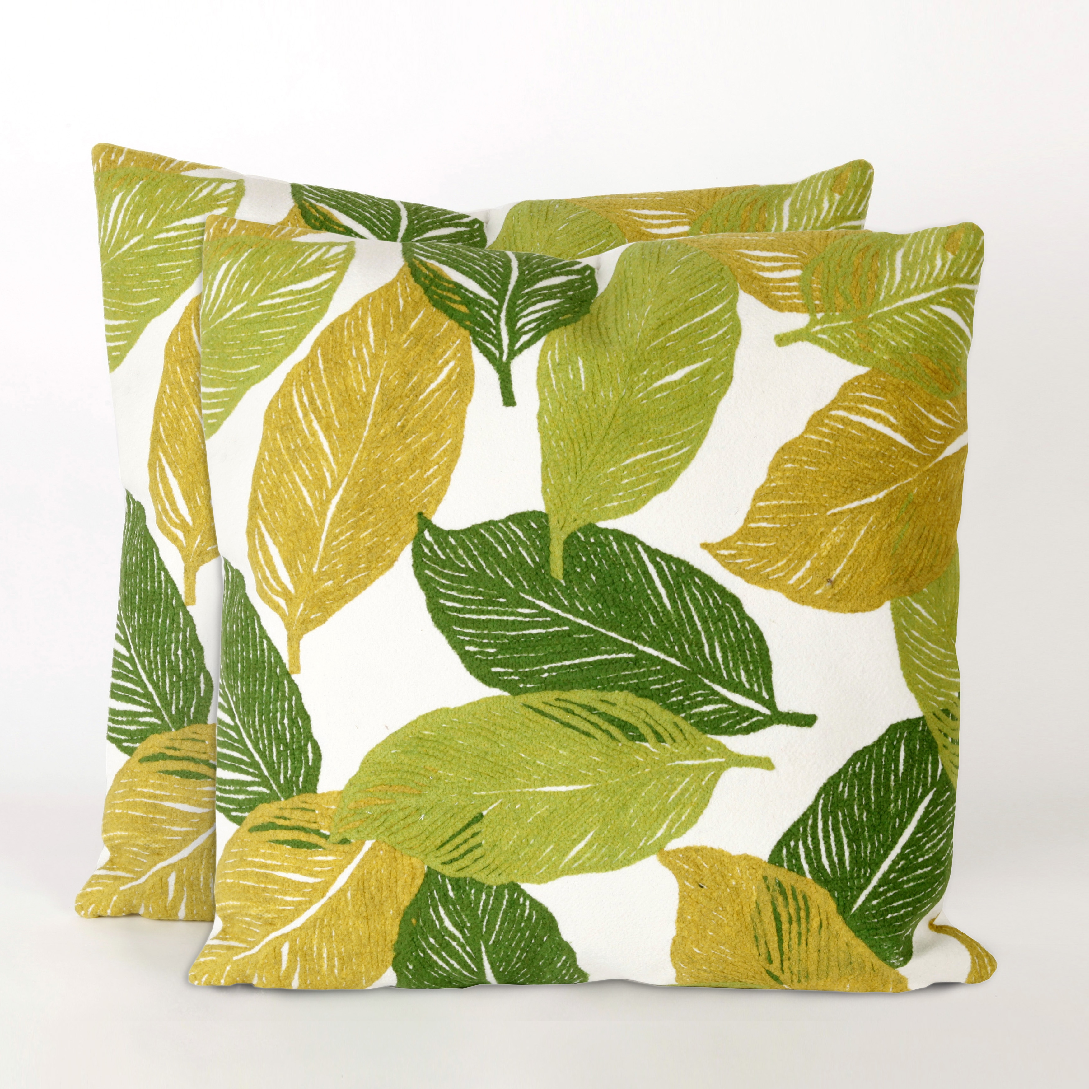 Cut Leaves 20-inch Throw Pillow (Set of 2) (Mystic Leaf In/Outdoor 20 Sq Pillow Set)