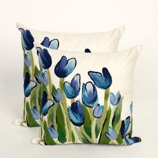 Set of Two Scattered Tulips 20-inch Throw Pillow (Set of 2)