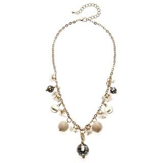 Alexa Starr Goldtone Mosaic Shell Glass Bead Drop Necklace