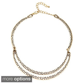 Alexa Starr Goldtone or Silvertone Two-row Animal Print Collar Necklace