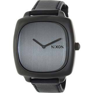 Nixon Women's Shutter A2861062-00 Black Leather Quartz Watch with Silver Dial