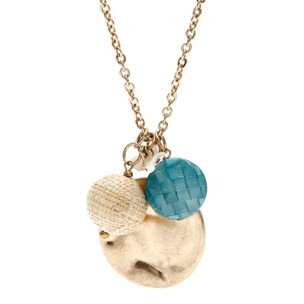 Alexa Starr Goldtone Mosiac Shell Triple Drop Necklace