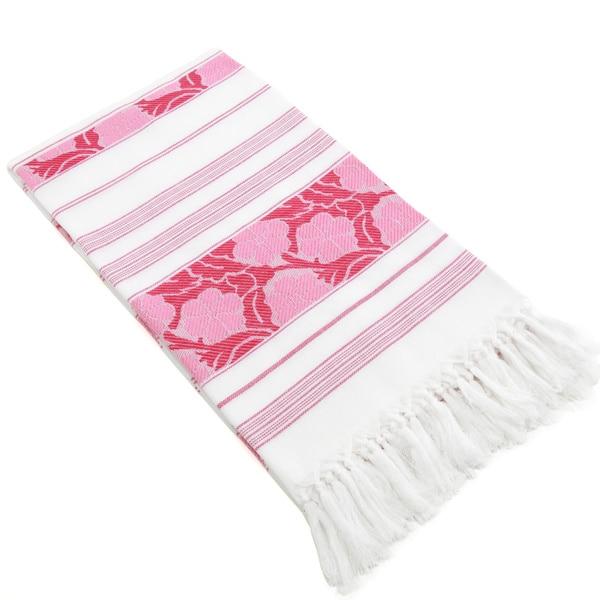 Authentic Pestemal Fouta Pink and White Floral Jacquard Turkish Cotton Bath/ Beach Towel