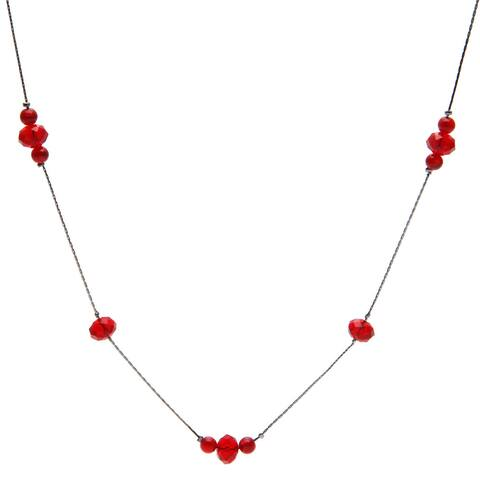 Silvertone or Goldtone Glass and Catseye Illusion Necklace