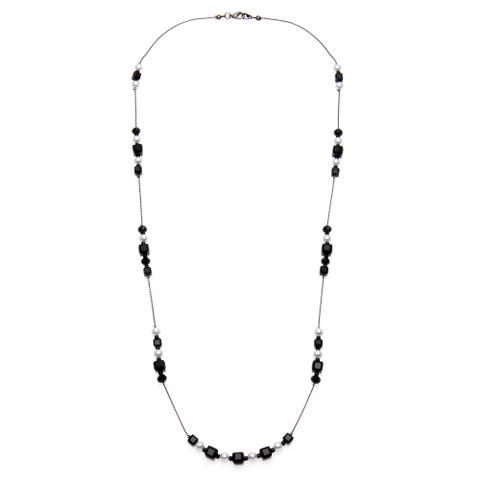 Alexa Starr Silvertone Faceted Glass and Faux Pearl Illusion Necklace - Black