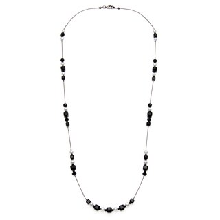 Silvertone Faceted Glass and Faux Pearl Illusion Necklace - Black & White