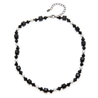 Alexa Starr Faceted Black Glass and Faux Pearl Short Necklace