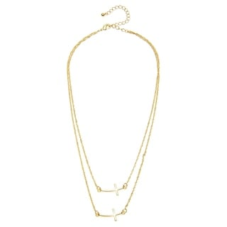 Alexa Starr Goldtone or Silvertone 2-row Sideways Cross Necklace