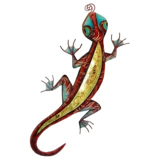 Handmade Gecko Wall Decor Red and Yellow