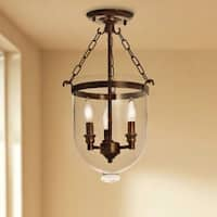 Pine Canopy Los Padres Antique Copper Glass Lantern Flush Mount Chandelier