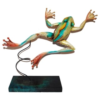 Handmade Blue Metal Standing Frog Art Decor (Philippines)