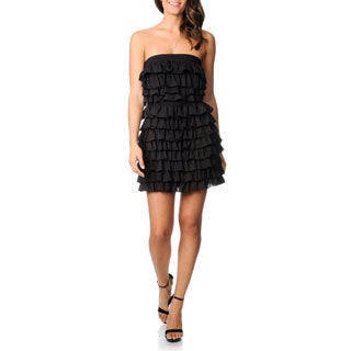 Women's Black Multi-tiered Strapless Dress
