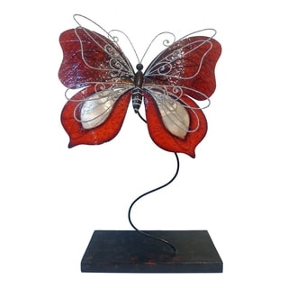 Handmade Red Standing Butterfly Sculpture (Philippines)