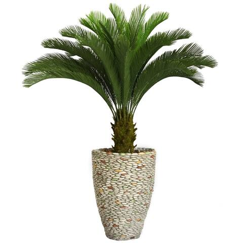 """Vintage Home 62-inch Tall Cycas Palm Tree in Fiberstone Planter - 61.5"""""""