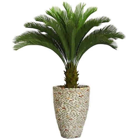 Laura Ashley 62-inch Tall Cycas Palm Tree in Fiberstone Planter