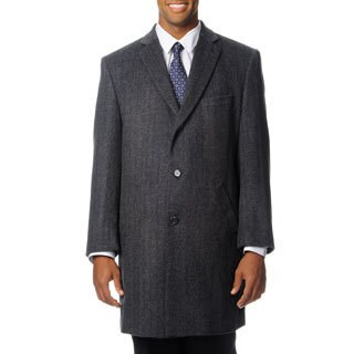 Pronto Moda Men's 'Ram' Grey Cashmere Blend Top Coat
