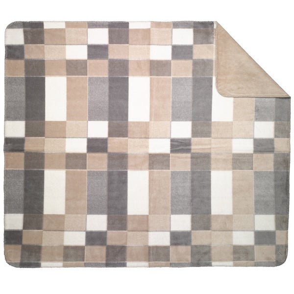 Denali Grey Modern Plaid Throw Blanket