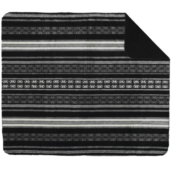 Denali Monochromatic Black Stripe Throw Blanket
