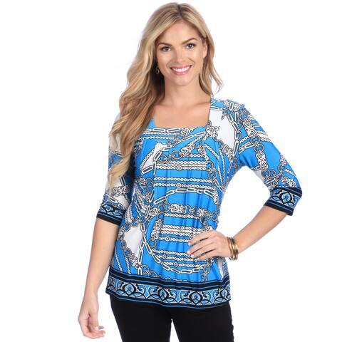 La Cera Women's Blue Geometric Print Square Neck Tunic