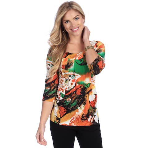 La Cera Women's Animal Print Orange Floral Square Neck Tunic